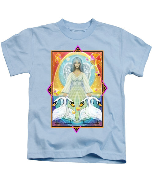 Archangel Haniel With Swans - Kids T-Shirt