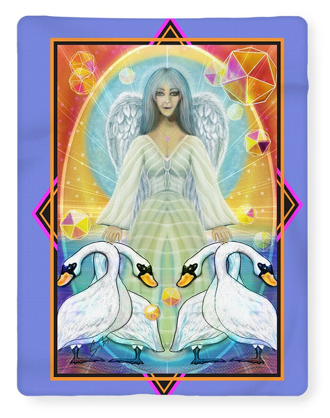 Archangel Haniel With Swans - Blanket