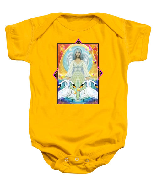 Archangel Haniel With Swans - Baby Onesie