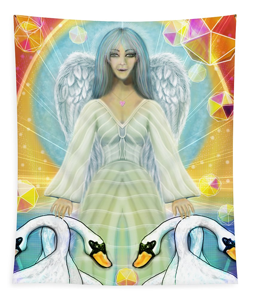 Archangel Haniel With Swans - Tapestry