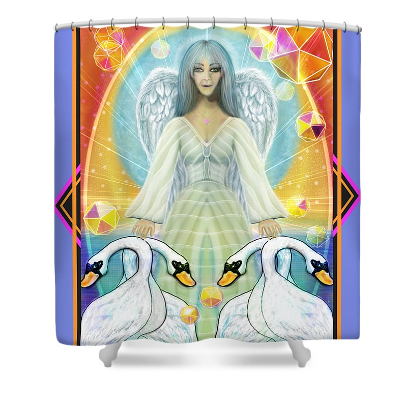 Archangel Haniel With Swans - Shower Curtain