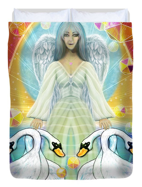 Archangel Haniel With Swans - Duvet Cover