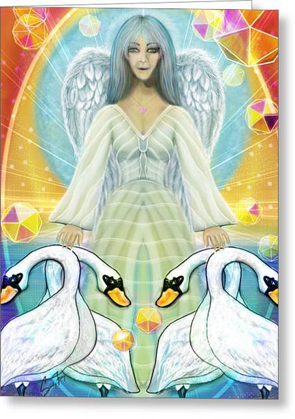 Archangel Haniel With Swans - Greeting Card