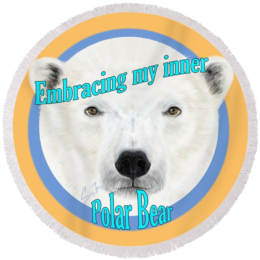 Embracing Polar Bear - Round Beach Towel