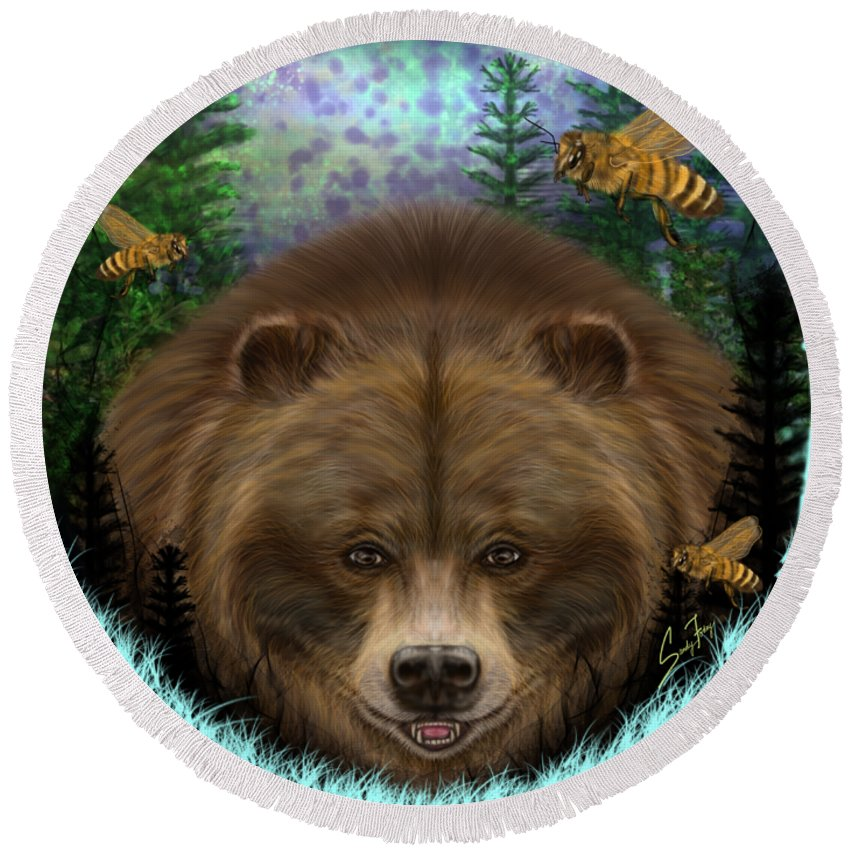 Honey Bear - Round Beach Towel