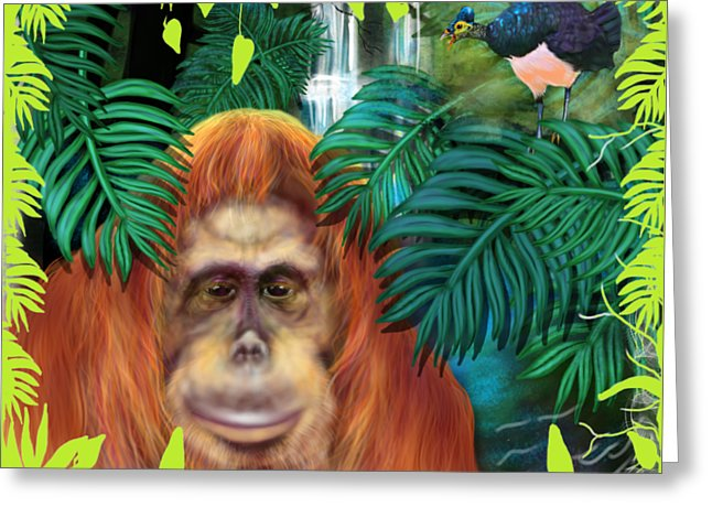 Orangutan With Maleo Bird - Greeting Card