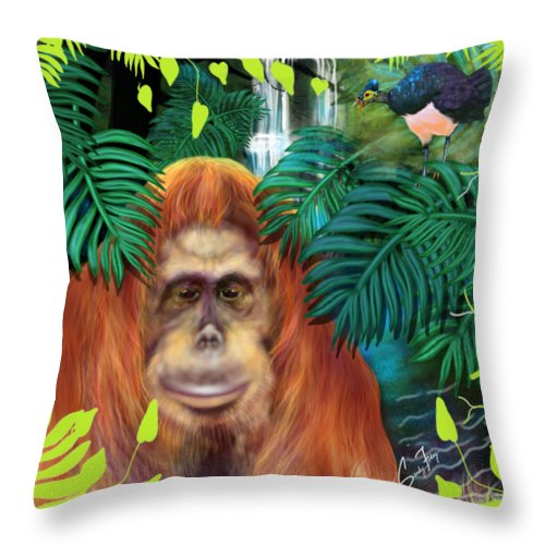 Orangutan With Maleo Bird - Throw Pillow