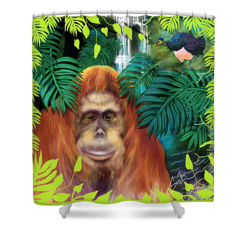 Orangutan With Maleo Bird - Shower Curtain