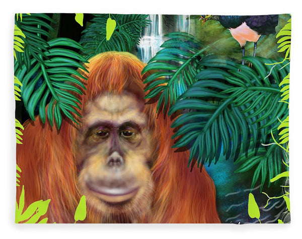 Orangutan With Maleo Bird - Blanket