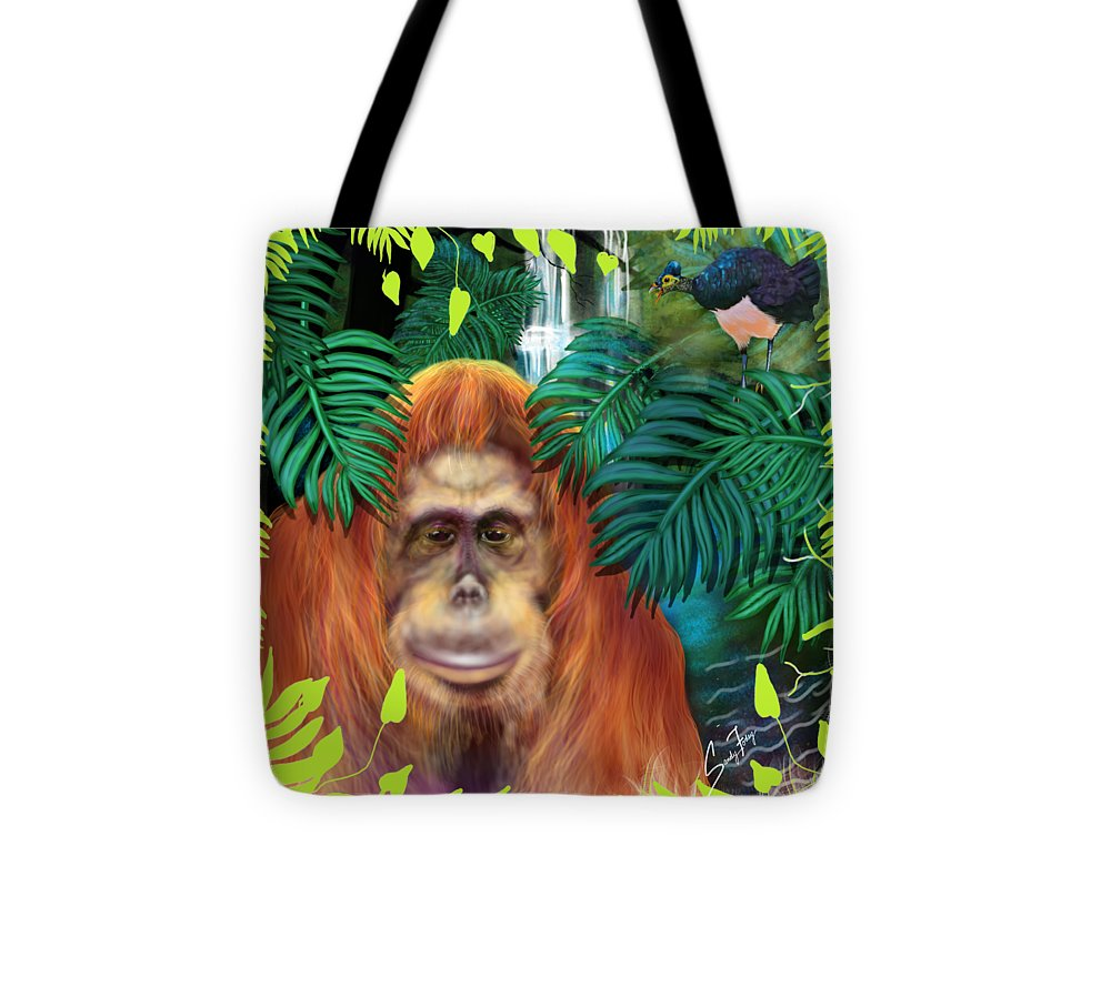 Orangutan With Maleo Bird - Tote Bag