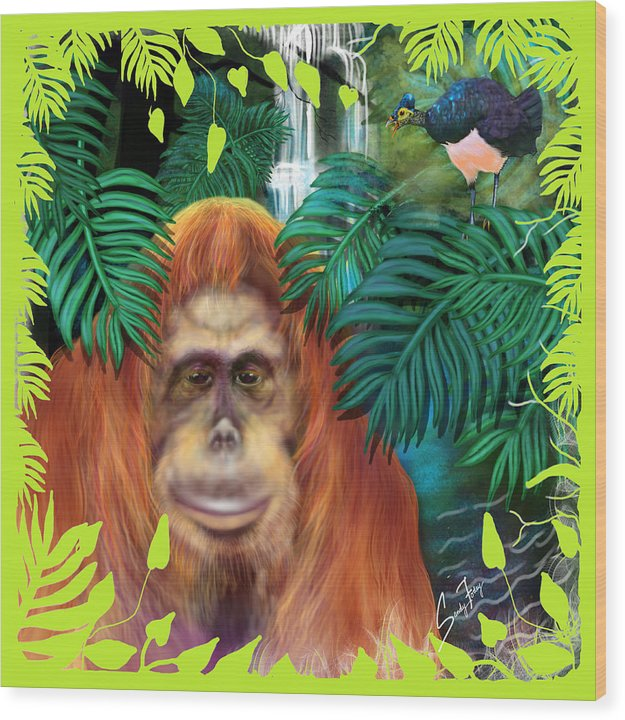 Orangutan With Maleo Bird - Wood Print