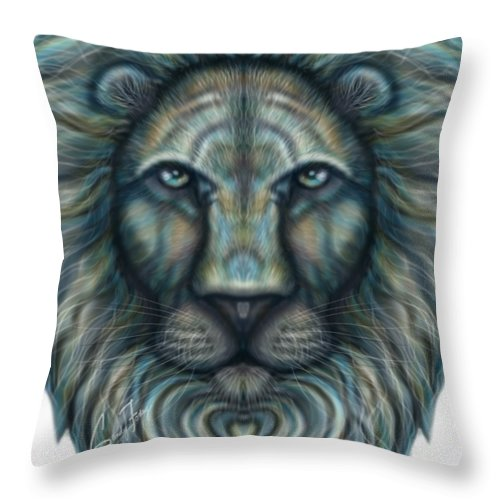 Radiant Rainbow Lion Throw Pillow Angelic Art