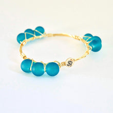 """Hatteras Blue"" Sea Glass Bangle Bracelet"