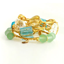 """Golden Heart"" Murano Glass Bangle Bracelet"
