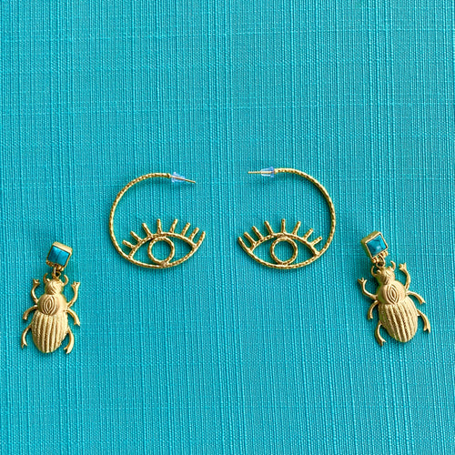 """Golden Beetle"" Scarab Earrings"