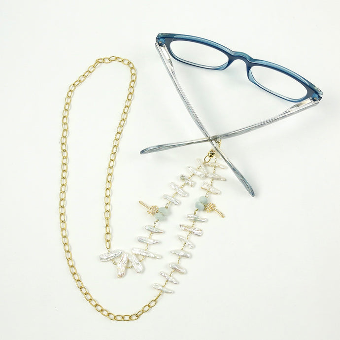 """Palmetto Sunnies"" Pearl Sunglass Holder Necklace"