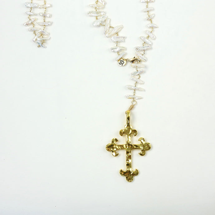 """Palmetto Mission"" Golden Cross Pearl Necklace"