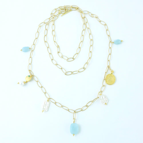 """Palmetto Treasure"" Aquamarine Pearl Necklace"