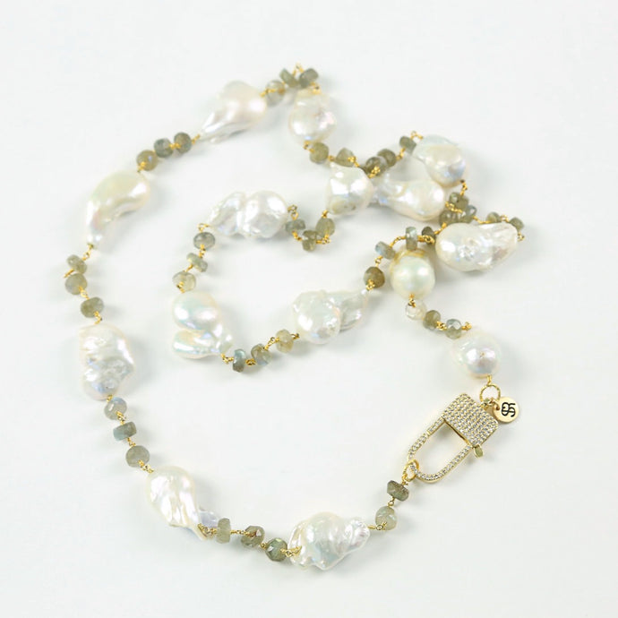 """Palmetto Duchess"" Baroque Pearl Labradorite Necklace"