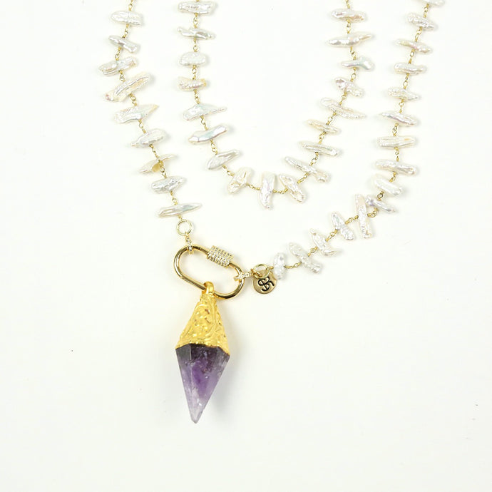 """Palmetto Iris"" Pearl Amethyst Necklace"