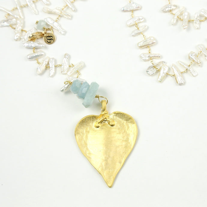 """Heart of Palm"" Aquamarine Pearl Necklace"
