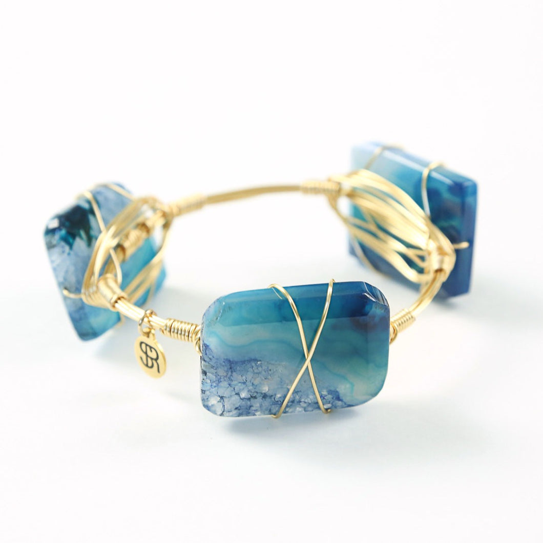 """Going Coastal"" Blue Agate Bangle"