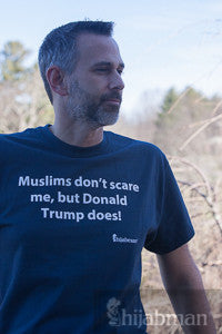 "Unisex ""Muslims don't scare me, Donald Trump does!"" Short Sleeve Shirt"