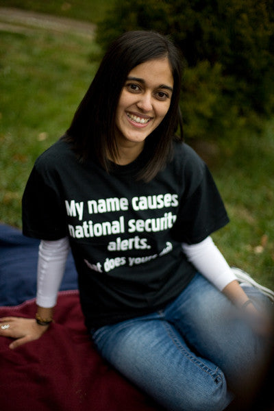 "Unisex ""My name causes national security alerts. What does yours do?"" Short Sleeve Shirt"