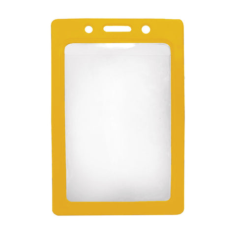 Vinyl Badge Holder W/Yellow Coloured Frame, Cr80 Vertical (100/Pk)