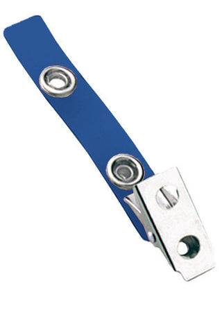 "2 Hole Clip W/ Coloured 2 3/4"" Strap - Blue (100/Pk)"