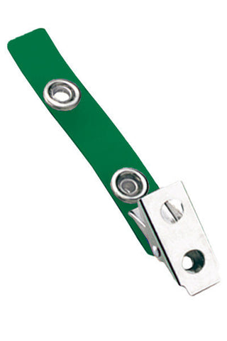 "2 Hole Clip W/ Coloured 2 3/4"" Strap - Green (100/Pk)"