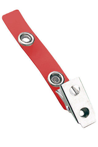 "2 Hole Clip W/ Coloured 2 3/4"" Strap - Red (100/Pk)"