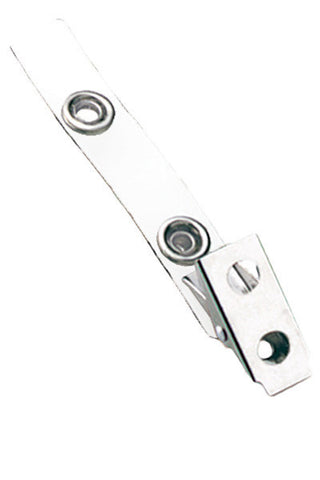 "2 Hole Clip W/Coloured 2 3/4"" Strap - White (100/Pk)"