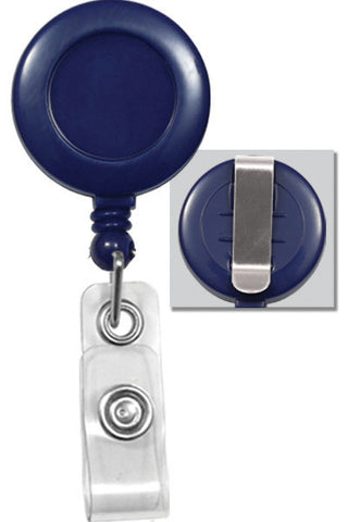 "Plastic Clip-On Badge Reel, Blue, 1-1/4"" (32Mm) W/Clear Vinyl Strap, No Sticker W/Slide-Type Belt Clip (25/Pk)"