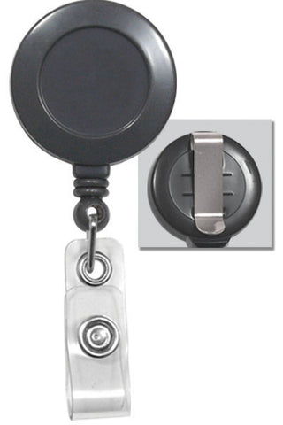 "Plastic Clip-On Badge Reel, Grey, 1-1/4"" (32Mm) W/Clear Vinyl Strap, No Sticker W/Slide-Type Belt Clip (25/Pk)"