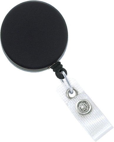 "Heavy-Duty Badge Reel, Black /Chrome, 1-1/2"" (38Mm) W/ Cord And Clear Strap, W/ Slide-Type Belt Clip (25/Pk)"