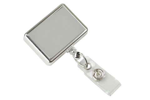 Rectangle Badge Reel, Chrome With Swivel Clip And Clear Vinyl Strap (25/Pk)