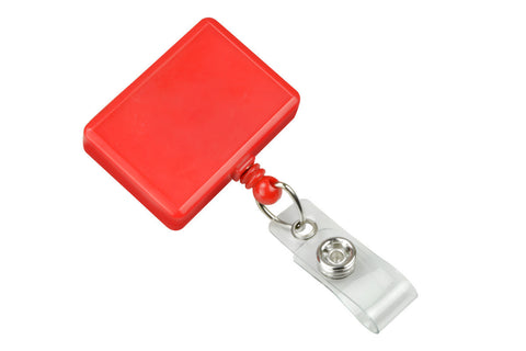 Rectangle Badge Reel, Red With Swivel Clip And Clear Vinyl Strap (25/Pk)