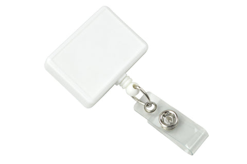 Rectangle Badge Reel, White With Swivel Clip And Clear Vinyl Strap (25/Pk)