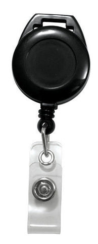 Badge Reel, Black, Round Badge Reel, W/Clear Vinyl Strap For Lanyard (25/Pk)
