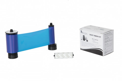 IDP Smart 30/50 SIADC-P-B Resin blue ribbon with the disposable cleaning roller, 1200 cards/roll