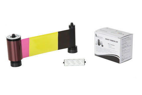 IDP Smart 30/50 SIADC-P-YMCKOK Full-color, two resin black and overlay panel ribbon with cleaning roller, 200 cards/roll