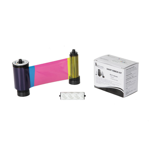 IDP Smart 30/50 SIADC-P-YMCKO Full-color, resin black and overlay panel ribbon with cleaning roller, 250 cards/roll