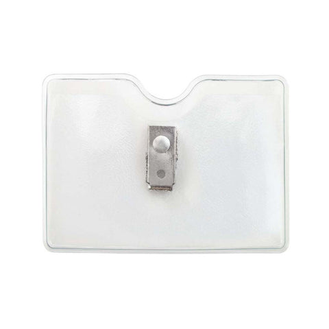 Vinyl Clip-On Badge Holder, Clear, Cr80 Horizontal (100/Pk)