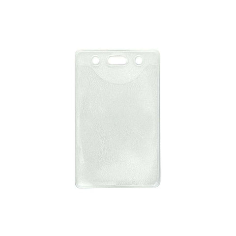 Vinyl Badge Holder, Clear, Cr80 Vertical, Easy Insert Textured Back (100/Pk)