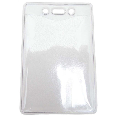 "Vinyl Badge Holder, Clear, 4"" X 2.85"" Vertical, Easy Insert Textured Back (100/Pk)"