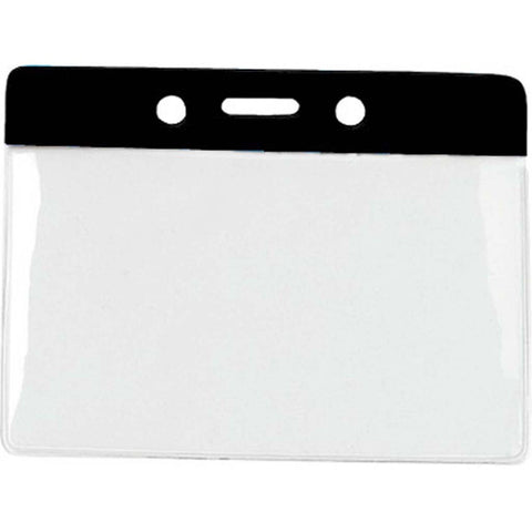 Vinyl Badge Holder, Clear W/Black Bar At Top, Cr80 Horizontal (100/Pk)