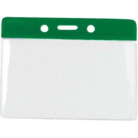 Vinyl Badge Holder, Clear W/Green Bar At Top, Cr80 Horizontal (100/Pk)