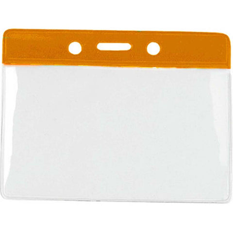 Vinyl Badge Holder, Clear W/Orange Bar At Top, Cr80 Horizontal (100/Pk)