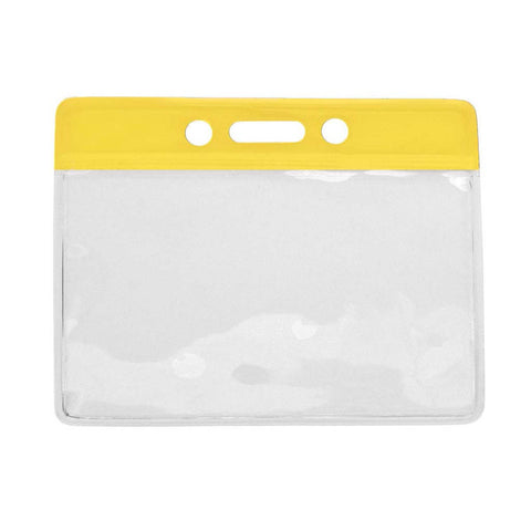 Vinyl Badge Holder, Clear W/Yellow Bar At Top, Cr80 Horizontal (100/Pk)